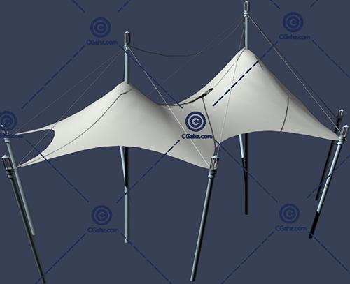 两个组合的张拉膜3D模型下载