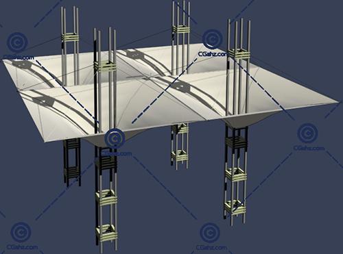 带四个柱子的张拉膜3D模型下载