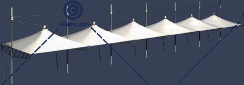 停车场专用张拉膜3D模型下载