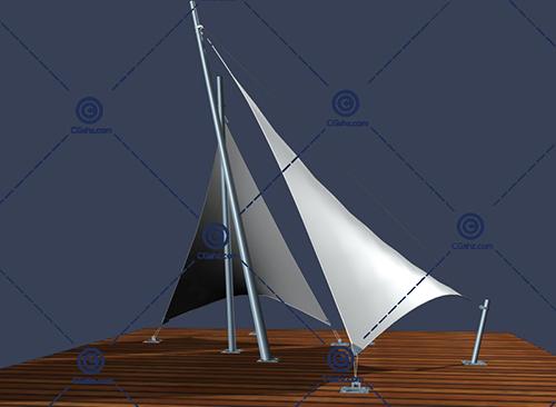 尖尖的三角形张拉膜3D模型下载