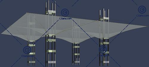 透明的张拉膜3D模型免费下载