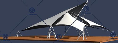造型独特的张拉膜3D模型下载