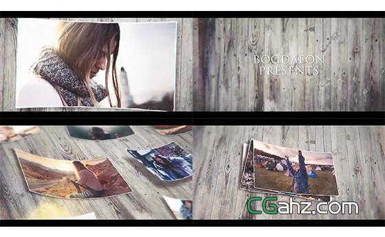 木板上四边微微弯曲的记忆照片图集展示AE模板