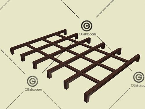 车库入口木质景观廊架3D模型下载