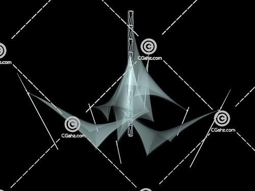 透明的三角形张拉膜3D模型下载
