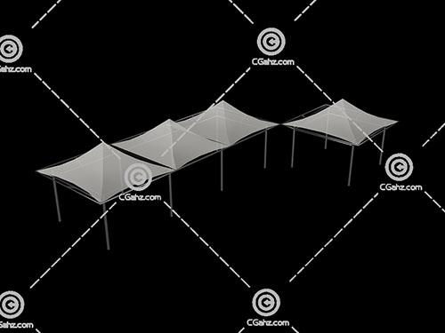 四个亭子形状的张拉膜3D模型下载