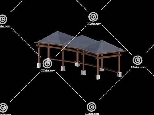 三个亭子组成的3D模型下载