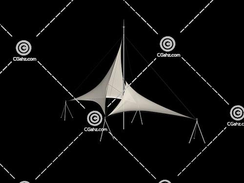 透明的三角形张拉膜模型下载