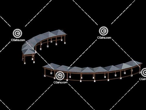 弧形亭子组合3D模型下载