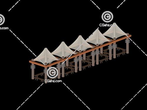 组合的透明顶棚的亭子3D模型下载
