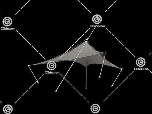 亭子形状的张拉膜3D模型下载