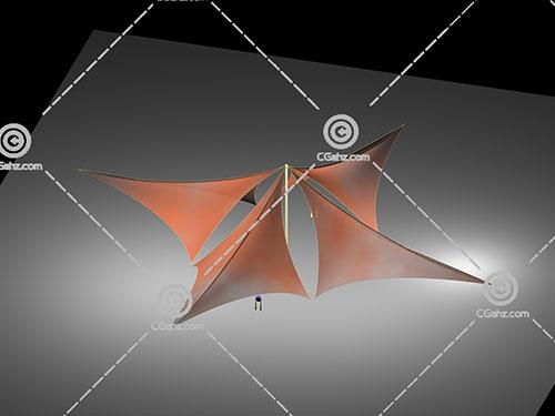 四个张拉膜组合3D模型下载