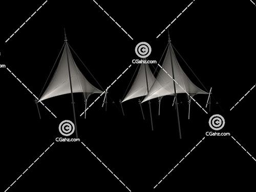 3个透明的张拉膜3D模型下载