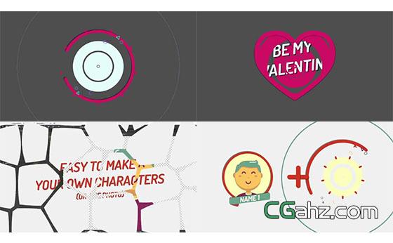 可爱的情人节或婚礼开场小动画AE模板