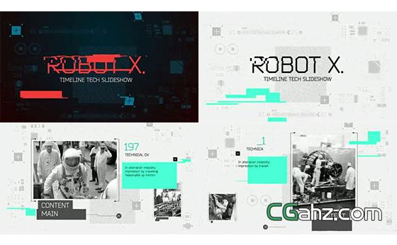 机器人或科技主题的时间线发展简史AE模板