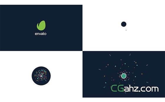 简短的图形元素标志动画AE模板