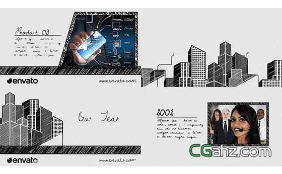 独特铅笔素描风格的企业商务宣传片AE模板