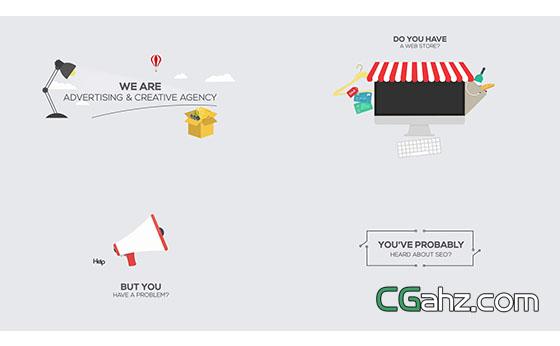 在线商务营销或服务宣传推介的解说动画AE模板