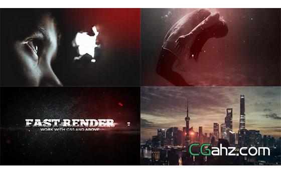 漏光装饰图像和闪电标题特效的电影预告片AE模板