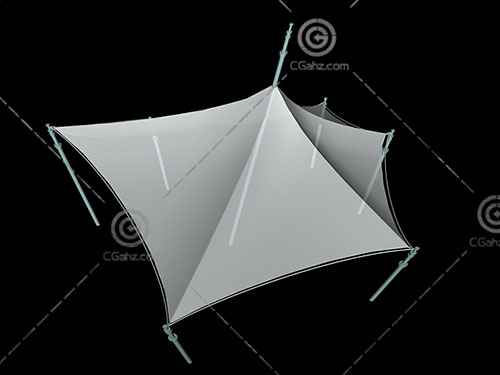 透明的六边形张拉膜3D模型下载