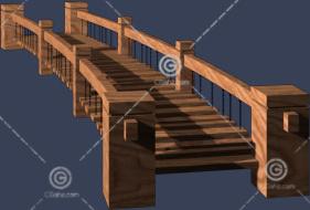 木质结构的小桥3D模型下载