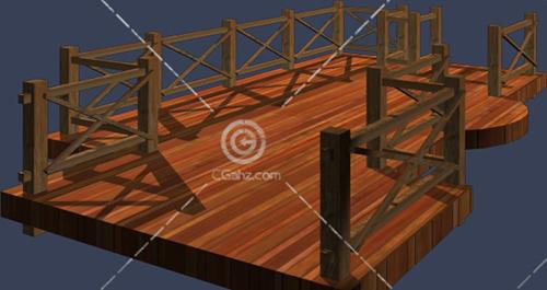 带护栏的木质小桥3D模型下载