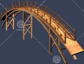 木质小拱桥3D模型下载