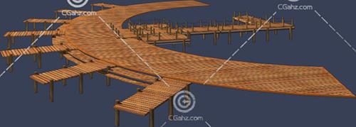 木质桥面3D模型下载