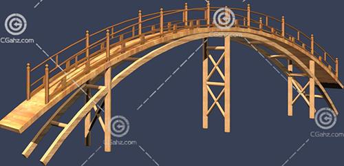 带护栏的拱形木桥3D模型下载