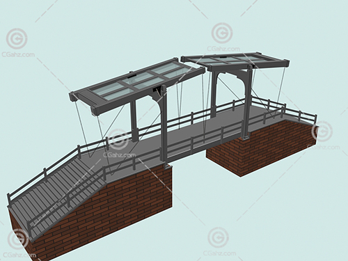带有玻璃顶棚的小桥3D模型下载