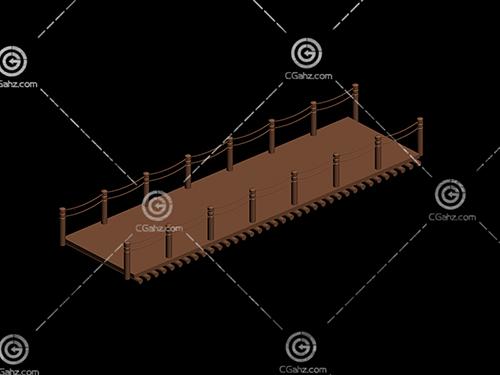 带护栏的木质平桥3D模型下载