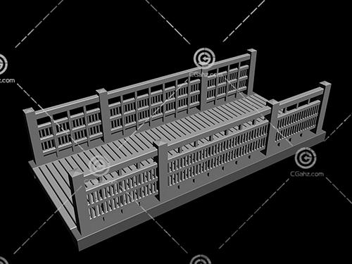 木板结构的小桥3D模型下载