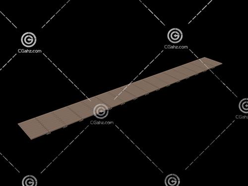 没护栏的木质小桥3D模型下载