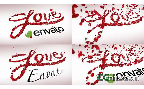 漂亮的玫瑰花瓣组成爱你的表白文字AE模板