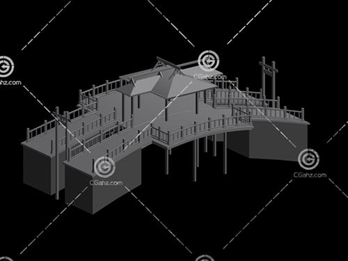 带有顶棚的桥3D模型下载