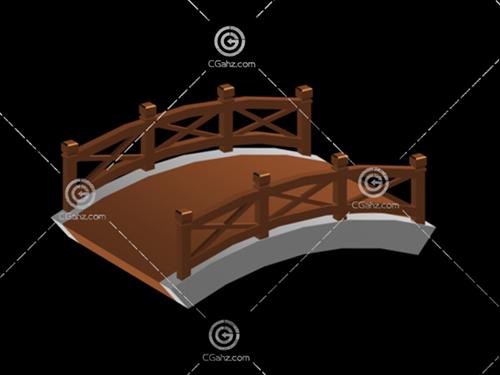 带木质护栏的小拱桥3D模型下载