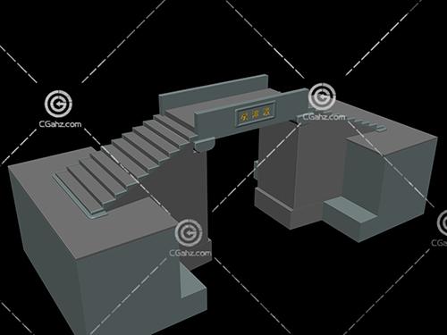 简单带有台阶的小桥3D模型下载