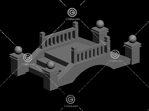 带有台阶,护栏的小桥3D模型下载