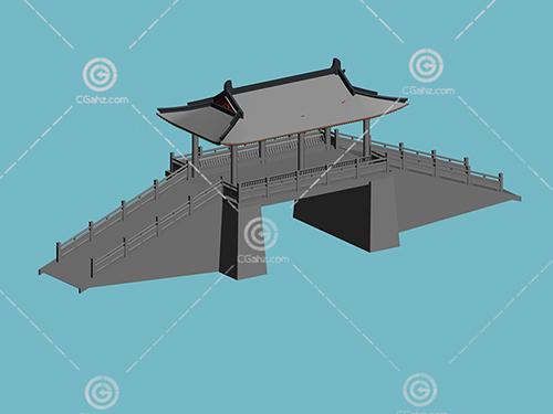 带有亭子的小桥3D模型下载