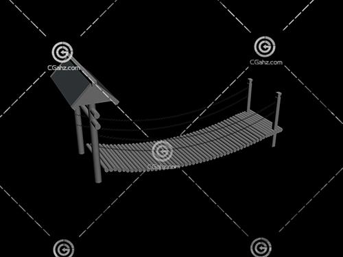 带铁索护栏的小木桥3D模型下载