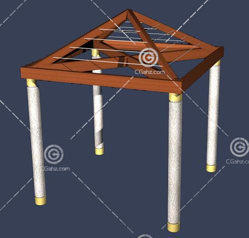 带有木质顶棚的亭子3D模型下载