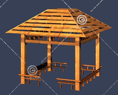 带坐凳的木头亭子3D模型下载