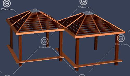 组合的木质亭子3D模型下载