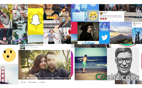 欢快的社交媒体主题宣传片头AE模板