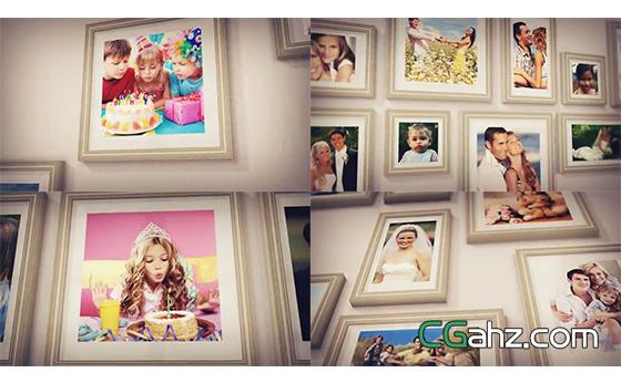 墙壁上挂着令人动容的家庭纪念相框图集展AE模板