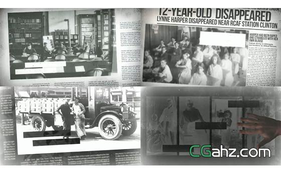 用昏黄报纸记载的历史影像内容展示AE模板