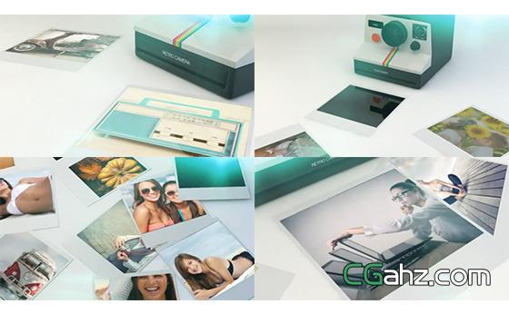 复古的照片打印机相片展示效果AE模板