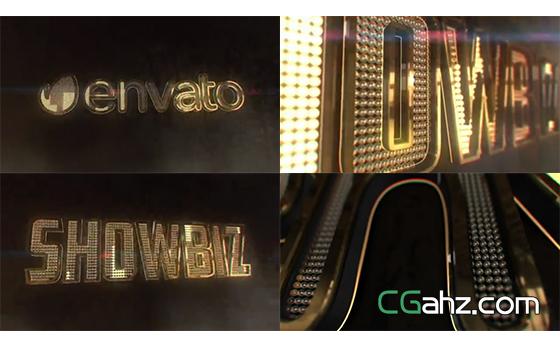 密集LED灯泡填充的时尚三维标志演绎动画AE模板