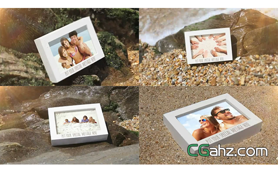 夏日明媚海滩上的相框照片展AE模板
