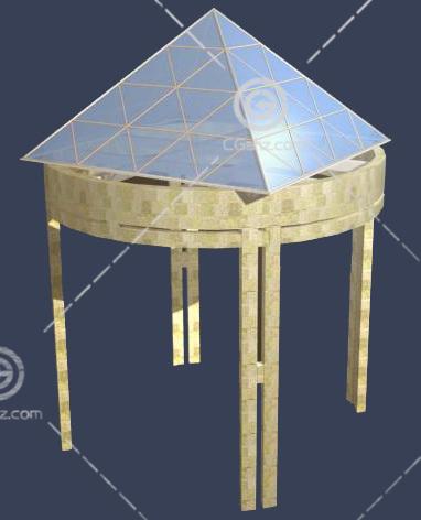 带有三角形玻璃顶棚的亭子模型下载